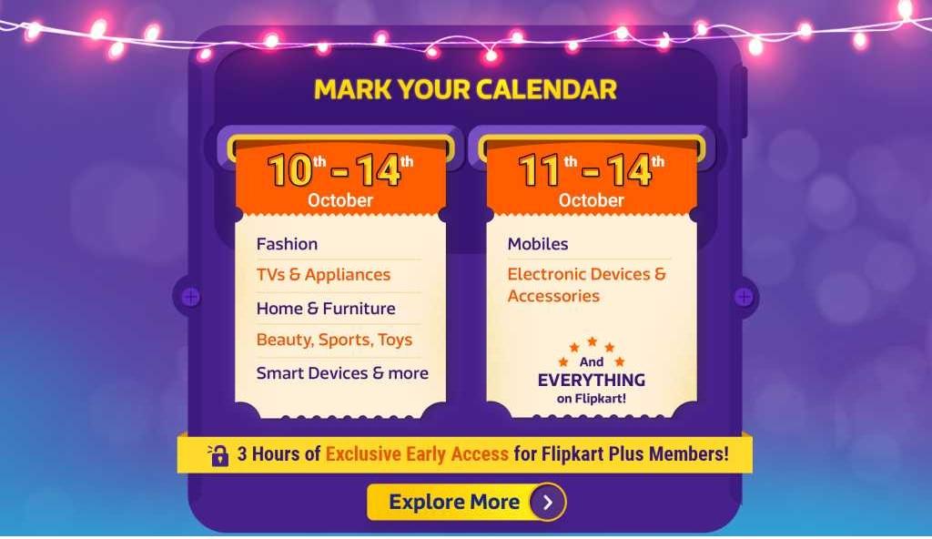 Daywise Calendar of Big Billion Days Sale on flipkart