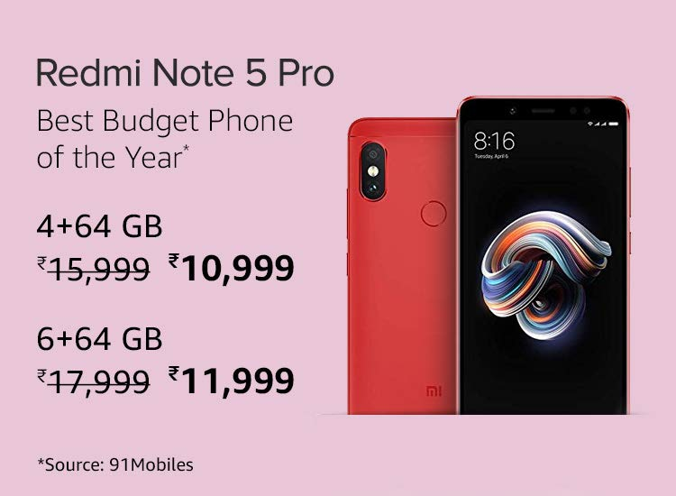 Redmi Note 5 Pro Latest Price on Amazon India on MI Days Offer. Smart Phone Brand Popular in India