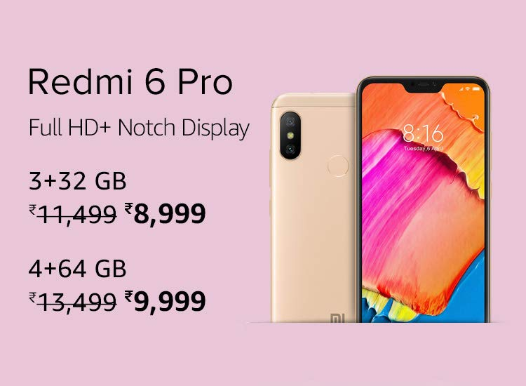 Redmi 6 Pro Latest Price on Amazon India on MI days Offer.