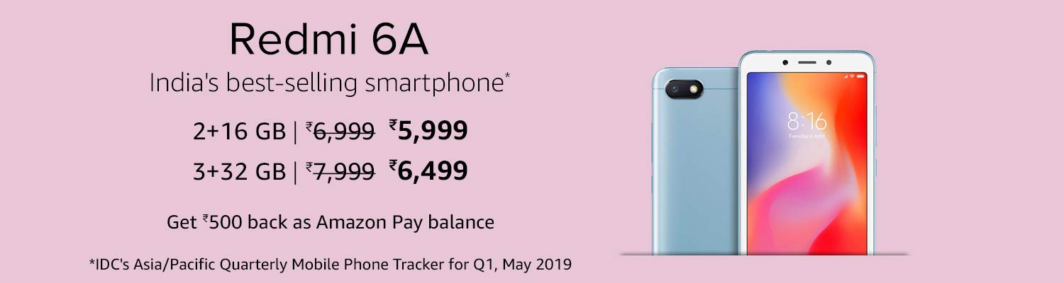 Redmi 6A Latest Price on Amazon India with exchange offer smartphone brand popular in India