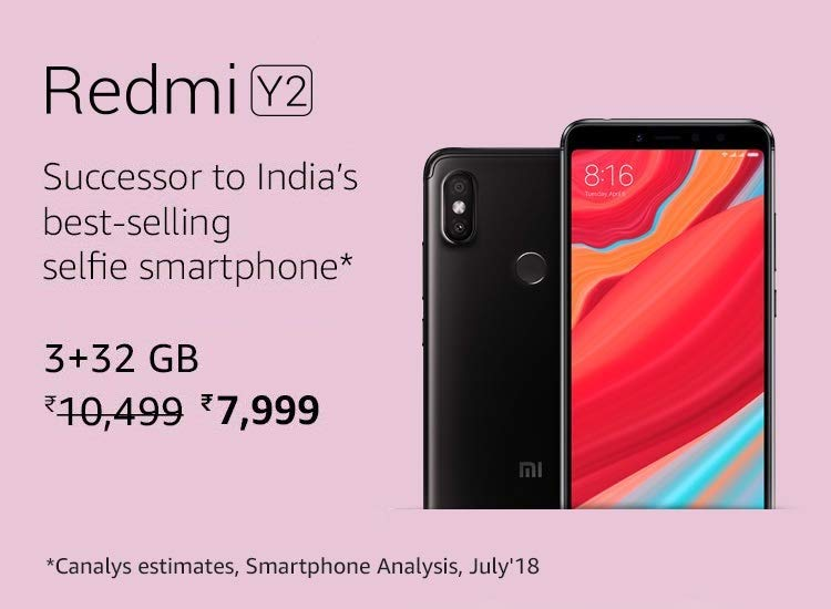 Redmi y2 smartphone latest price on Amazon on MI days offers