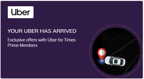 Get Uber cab membership on Times Prime Subscription popular in India