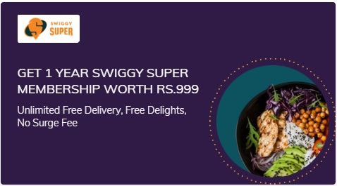 Get Swiggy Super Membership of worth Rs.999 on purchase of Times Prime Membership
