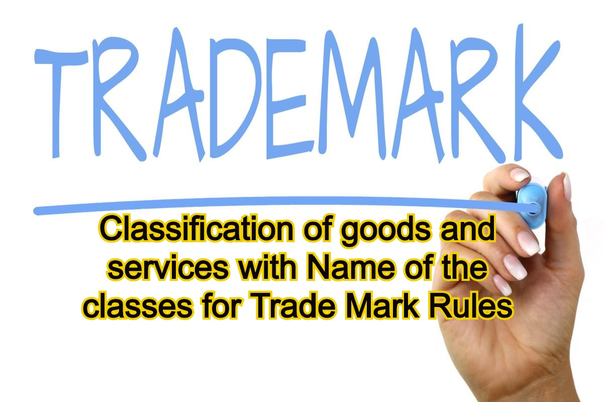 Classification of goods and services with Name of the classes for Trade Mark Rules