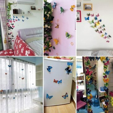 Ampire Wall Stickers 3D Butterflies Double Layer White Office Home Design Magnet