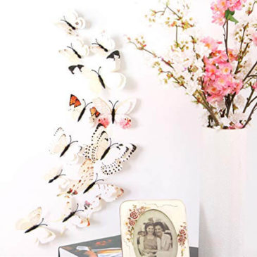 Sticker Studio Flower with Butterfly Wall Stickers for Living Room, Bedroom, Office