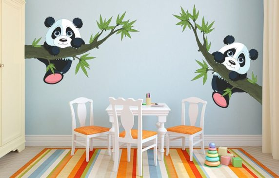 Printelligent Baby Panda Removable Decor Environmentally Mural Wall Stickers Decal Wallpaper For Kids Home Living Room Bedroom Bathroom Kitchen Office