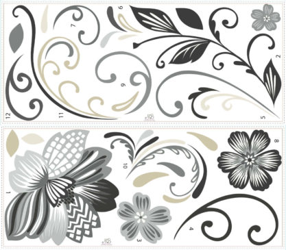 Black-and-White-Flower-Scroll-Peel-and-Stick-Giant-Wall-Decals Decorative_Wall_Stickers_and_Murals_for_Our_Home_Interior_Design