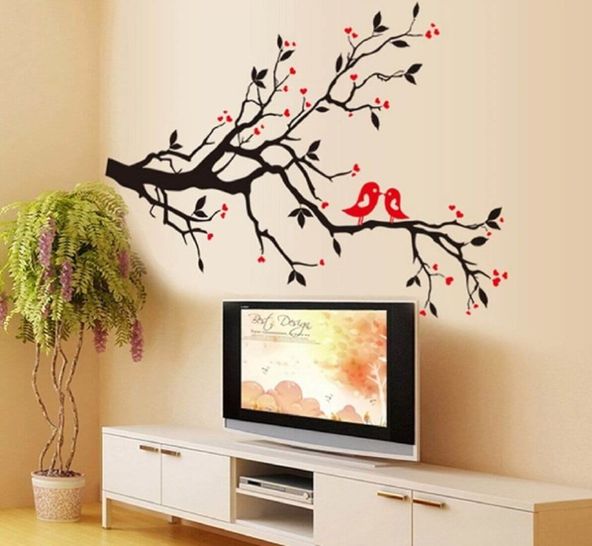 Jaamso Royals Wall Decor Love Birds Tree Flower Wall Sticker for Home Décor popular in India