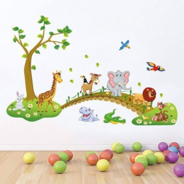 Indian Royals ' Hot Style Big Jungle Animals Bridge ' Wall Sticker (PVC Vinyl, 90 cm X 60 cm, Decorative Stickers)