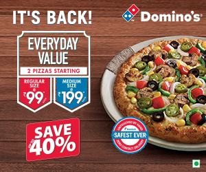 Dominos tosday coupons and discount popular in India