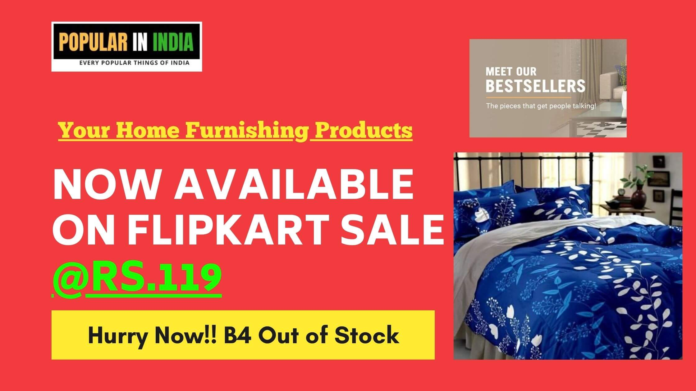 Flipkart Big Saving Day Sale on Home Furnishing popular in india