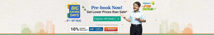 Flipkart Big Saving day Sale Offers popular in India
